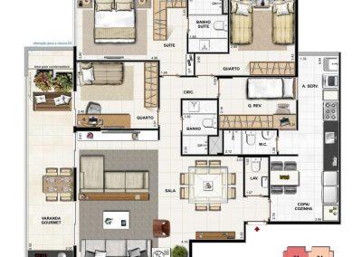 Apartamento 4 quartos com Grand Living