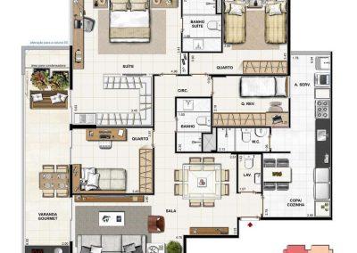 Apartamento 4 quartos com Suíte Master