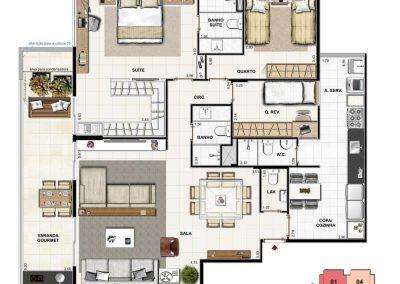 Apartamento 3 quartos com Grand Living e Suíte Master